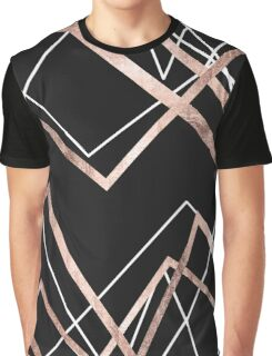 Rose Gold Black Linear Triangle Abstract Pattern Graphic T-Shirt