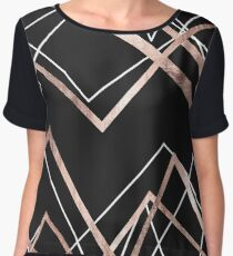 Rose Gold Black Linear Triangle Abstract Pattern Chiffon Top