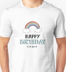 Happy Birthday lettering, vector illustration with rainbow. Good for header, invitation, banner, greeting card, baby shower Unisex T-Shirt