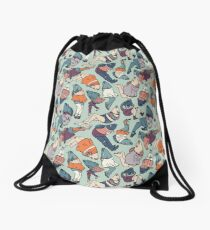 Peppy Springtime Legfish Pattern (Muted Complementaries) Drawstring Bag