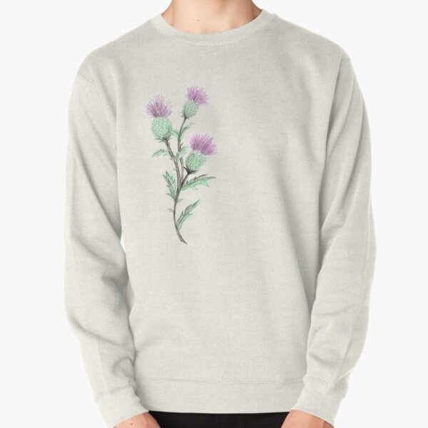 Watercolor Thistle  Pullover Sweatshirt