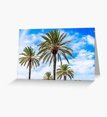 Green Island Palm Trees On Blue Sky Greeting Card