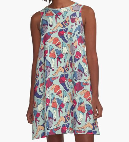 Peppy Springtime Legfish Pattern (Bright Complementaries) A-Line Dress