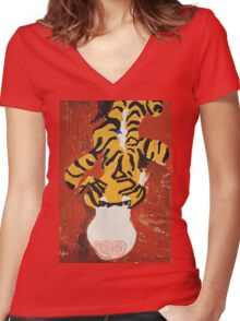 leopard toy painting Women's Fitted V-Neck T-Shirt