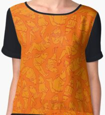 Peppy Springtime Legfish Pattern (ORANGE!!) Chiffon Top