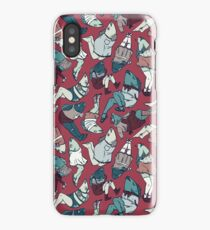 Peppy Springtime Legfish Pattern (Red & Teal) iPhone Case