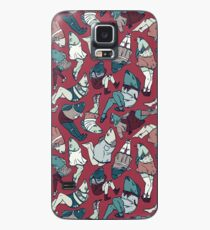 Peppy Springtime Legfish Pattern (Red & Teal) Case/Skin for Samsung Galaxy
