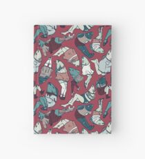 Peppy Springtime Legfish Pattern (Red & Teal) Hardcover Journal