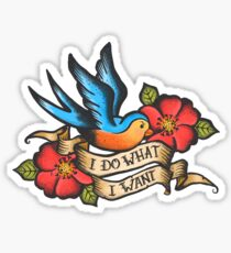 I Do What I Want Vintage Bluebird And Rose Tattoo Sticker