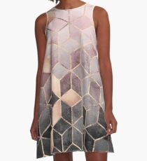 Pink And Grey Gradient Cubes A-Line Dress