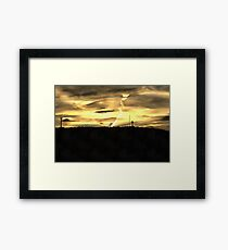 Clouded Sunset Beyond The Cross Framed Print