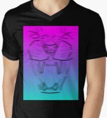 Neon Panther Snarl Mens V-Neck T-Shirt