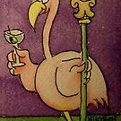 Flamingo Mardi Gras Martini Glass by icansketchu