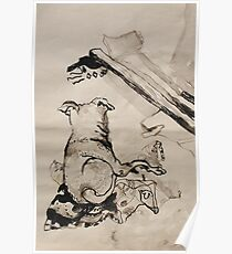 dog lying on a blanket Poster