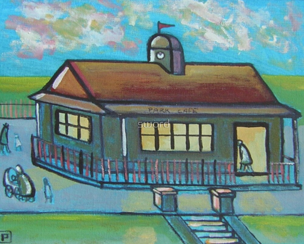 Park cafe (from my original acrylic painting) by sword