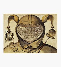 Crazy World antique French joker, court jester map Photographic Print