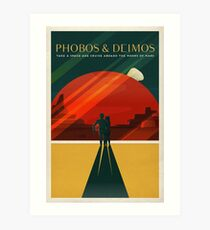 THE MOONS OF MARS - Space | X | Retro | Vintage | Futurism | Sci-Fi | Two Art Print
