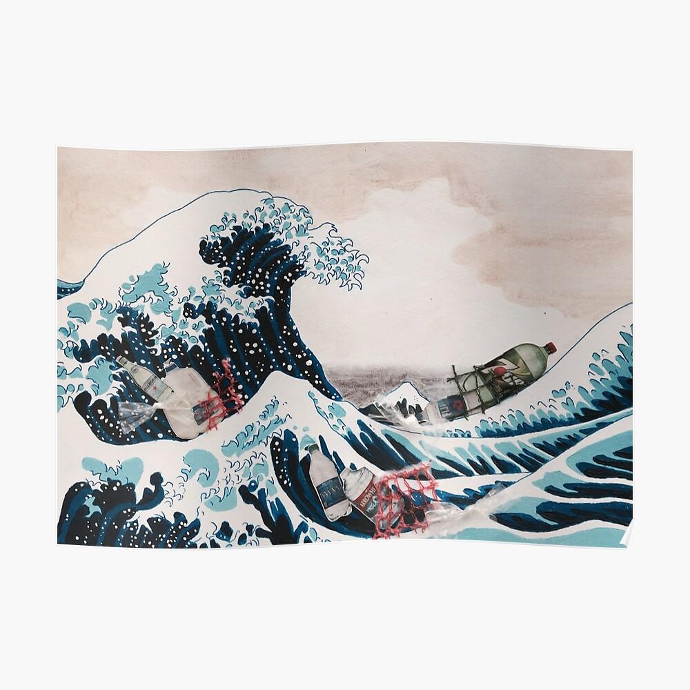 Die große Welle Plastikverschmutzung Poster