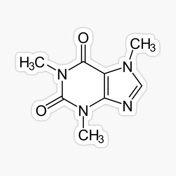 Estructura Molecular de la Cafeína Pegatina