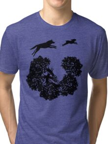Wolf and Rabbit Forest Silhouettes Tri-blend T-Shirt
