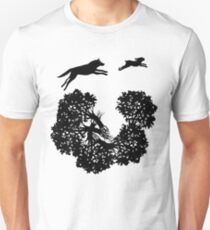 Wolf and Rabbit Forest Silhouettes Unisex T-Shirt