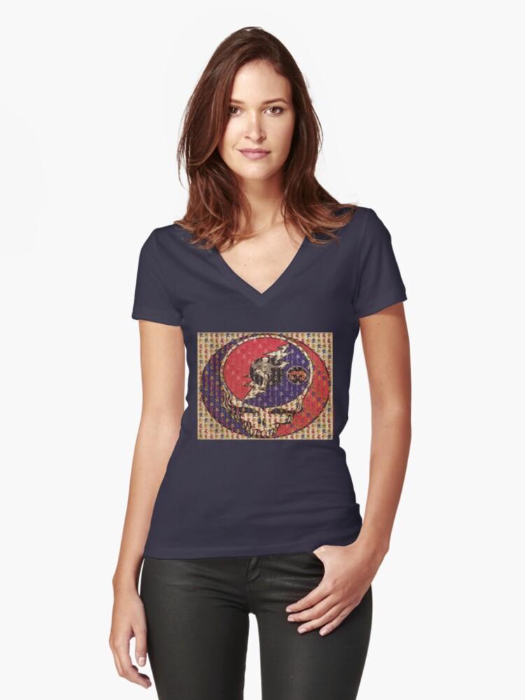 Greatfull Dead Teddy Bears Women's Fitted V-Neck T-Shirt Front