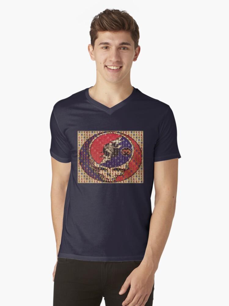 Greatfull Dead Teddy Bears Mens V-Neck T-Shirt Front