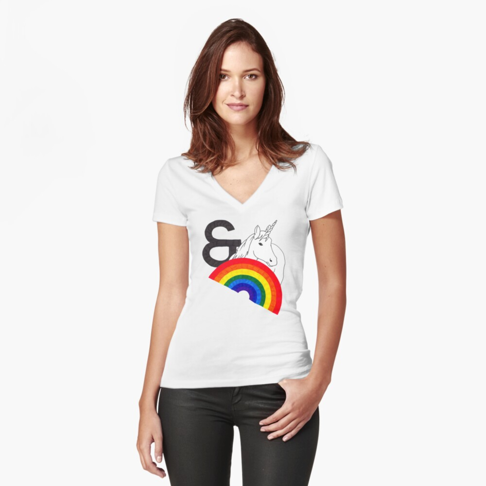 Rainbows & Unicorns Fitted V-Neck T-Shirt