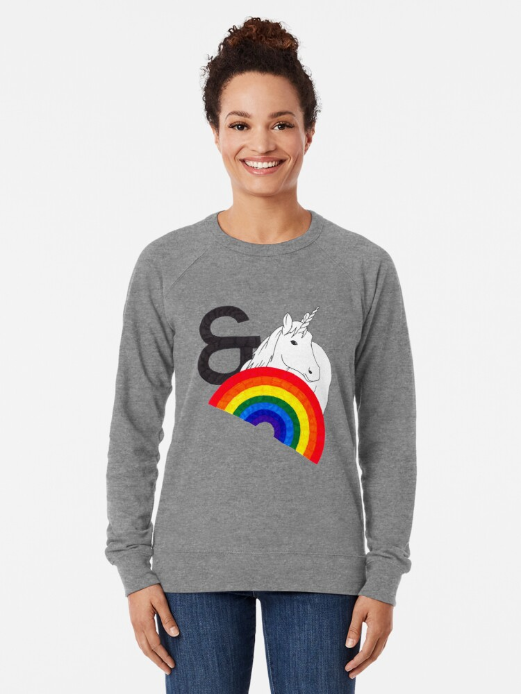 Alternate view of Rainbows & Unicorns Lightweight Sweatshirt