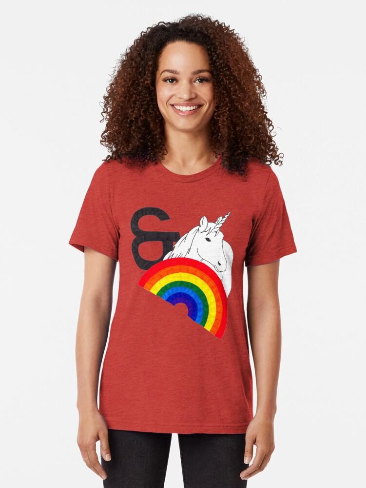 Alternate view of Rainbows & Unicorns Tri-blend T-Shirt