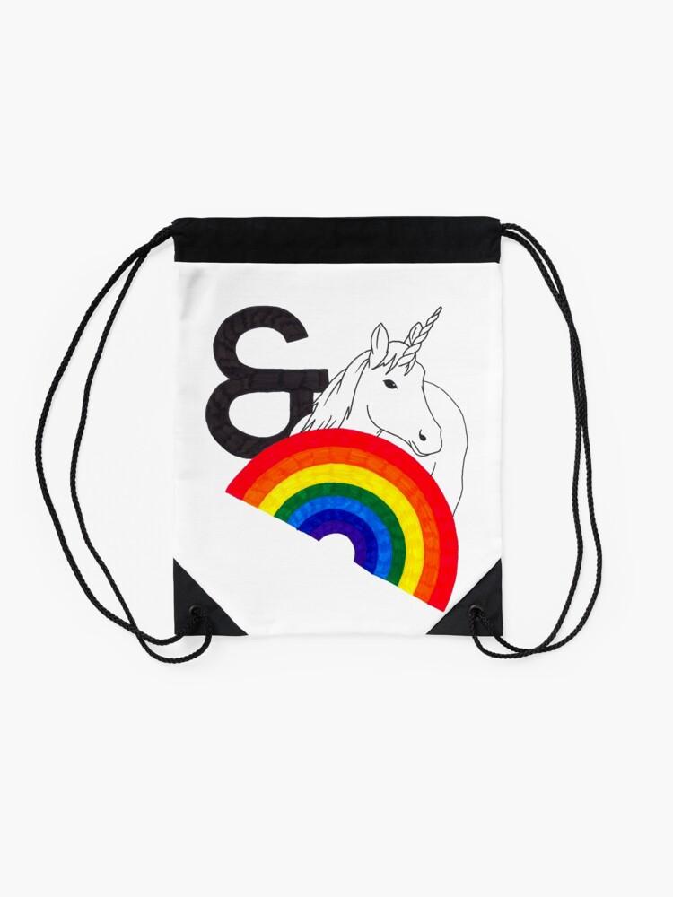 Alternate view of Rainbows & Unicorns Drawstring Bag
