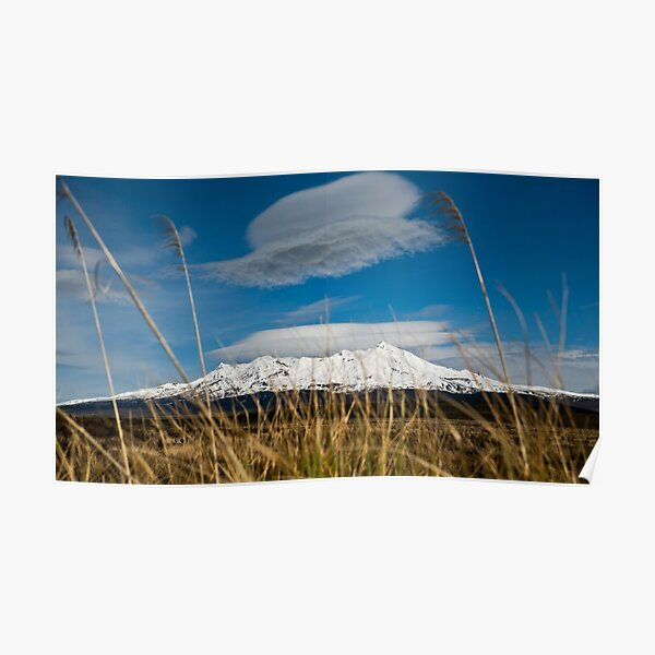 Snowy mountain with grass and clouds Poster