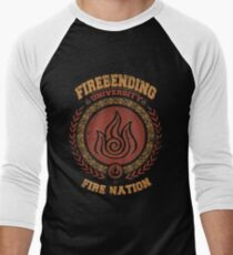 Firebending university Men's Baseball ¾ T-Shirt