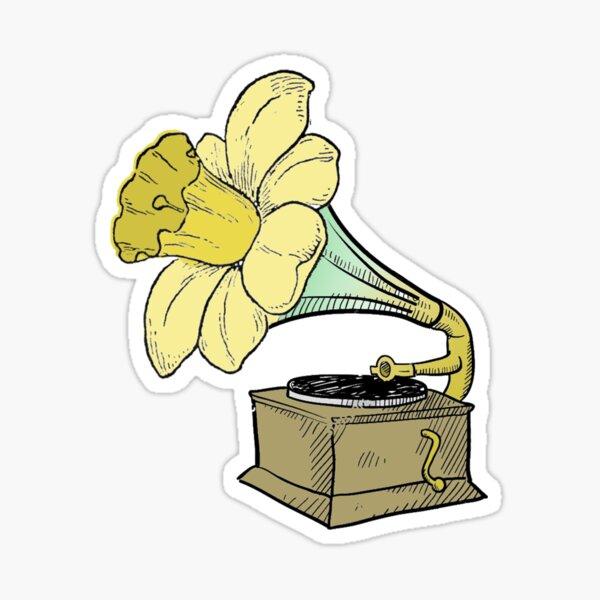 Daffodil Record Player Sticker