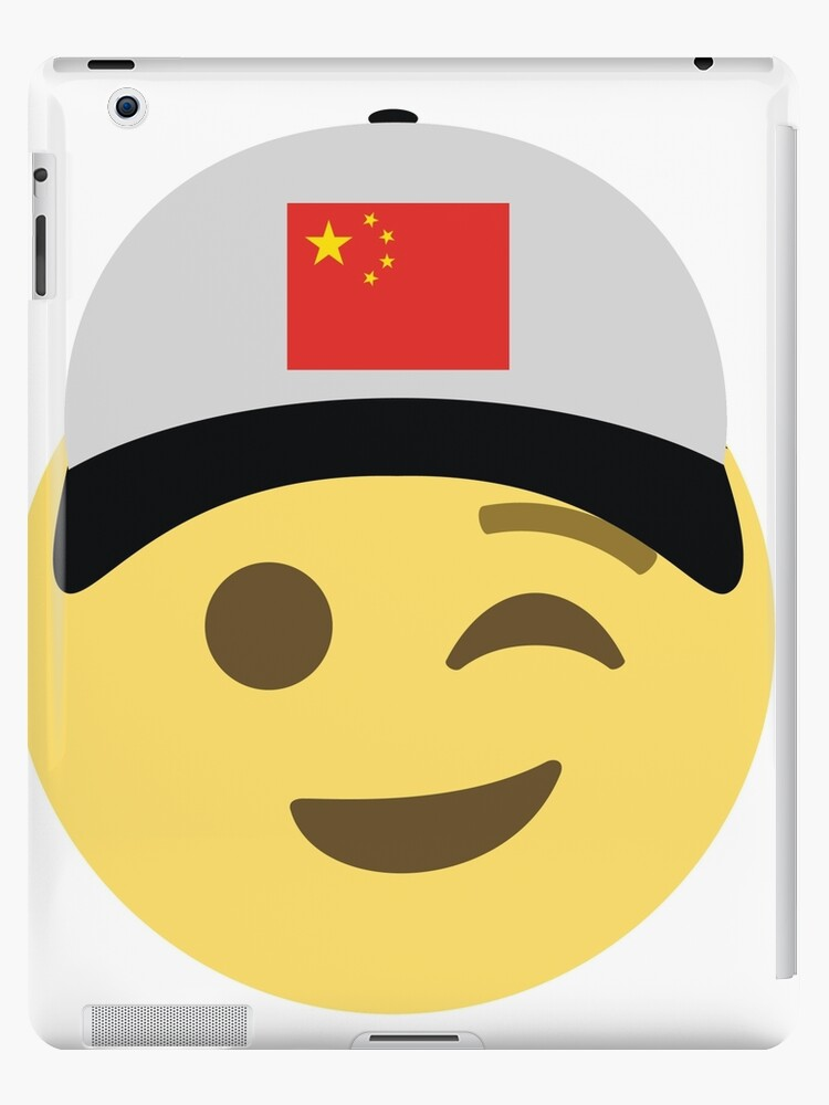 'China Emoji Wink Baseball Hat ' iPad Case/Skin by worldofprints
