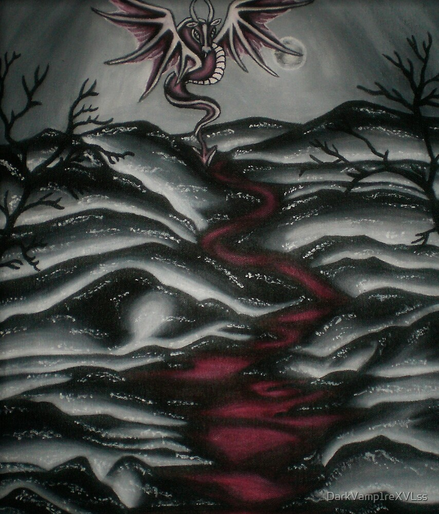 original acrylic dragon in black and white hills painting by DarkVamp1reXVLss