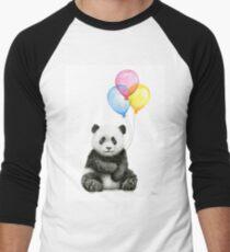 Camiseta ¾ bicolor para hombre Bebé Panda Acuarela con Globos Vivero Arte Animal