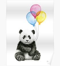 Baby Panda Watercolor with Balloons Nursery Animal Art Poster