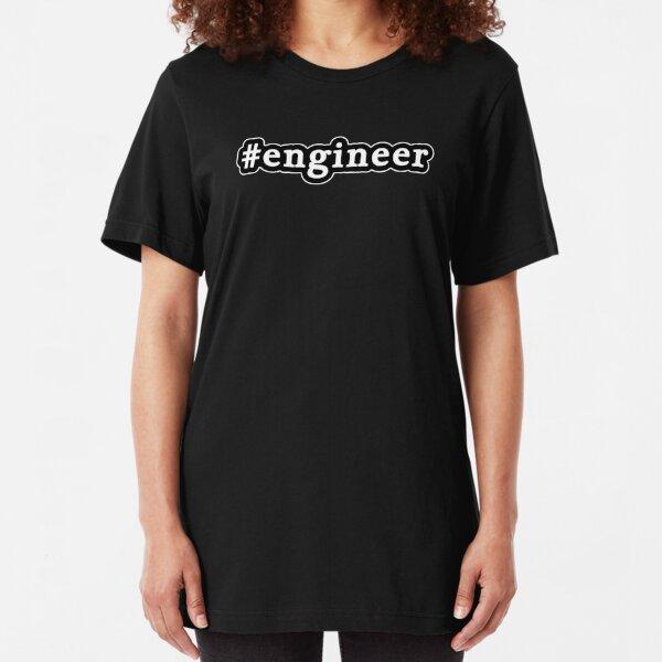 Engineer - Hashtag - Black & White Slim Fit T-Shirt