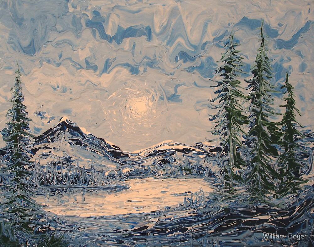 Lake Sunrise FingerPainting by William  Boyer