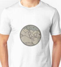 Astronaut Moon Stars Circle Mono Line Unisex T-Shirt