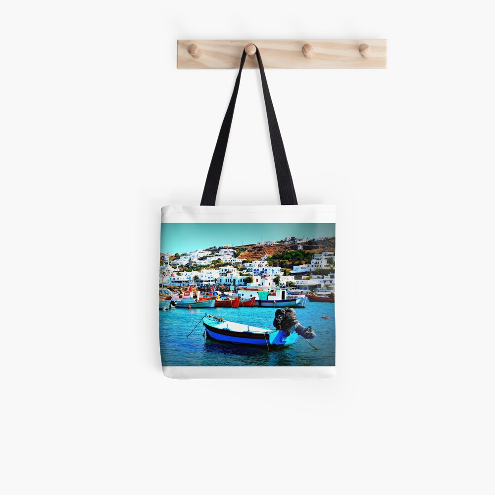 Feeling Nostalgic On The Water In Mykonos, Greece Tote Bag