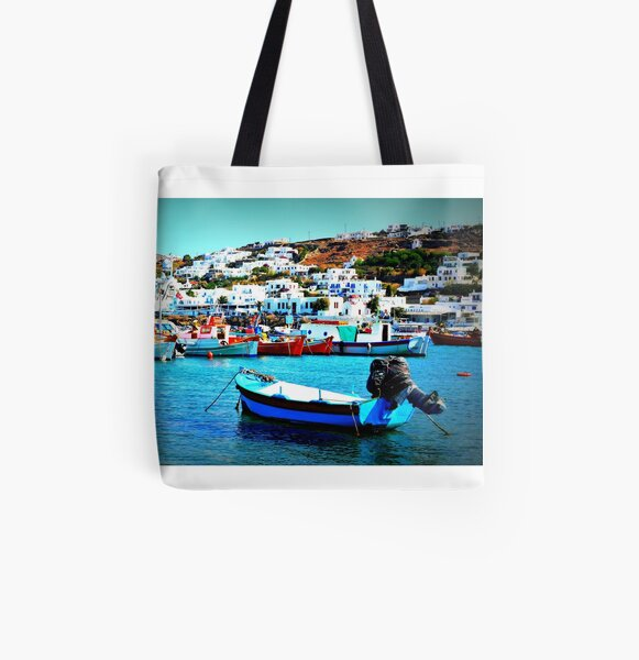 Feeling Nostalgic On The Water In Mykonos, Greece All Over Print Tote Bag
