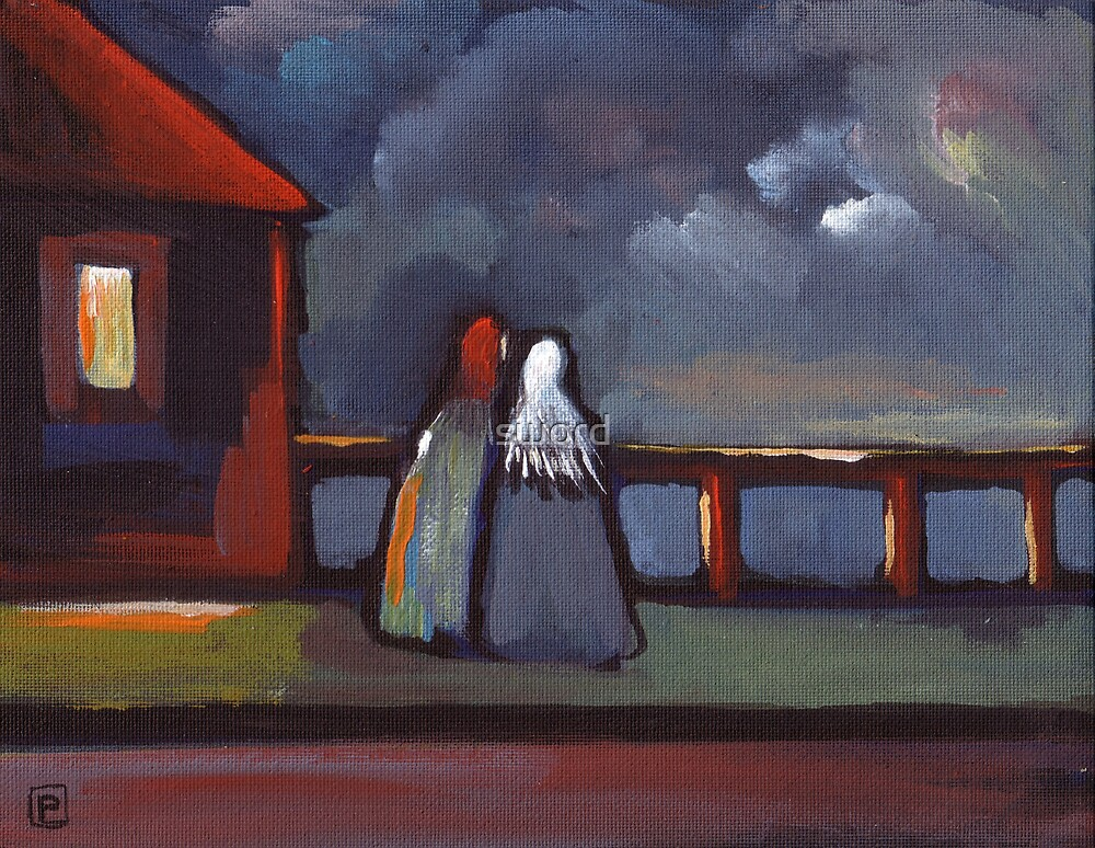 Fisherwifes waiting (from my original acrylic painting) by sword