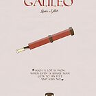 Life of Galileo, Bertolt Brecht, book cover, minimal Illustration, with Charles Laughton, drama, play, comedy, Galileo Galilei by Spallutos