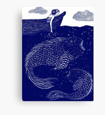 The Blue Shimmering Sea Lights Canvas Print