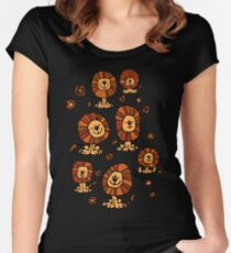 Cute Flower Cartoon Lions by Cheerful Madness!! Women's Fitted Scoop T-Shirt