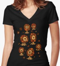 Cute Flower Cartoon Lions by Cheerful Madness!! Women's Fitted V-Neck T-Shirt