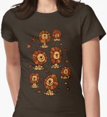 Cute Flower Cartoon Lions by Cheerful Madness!! Women's Fitted T-Shirt