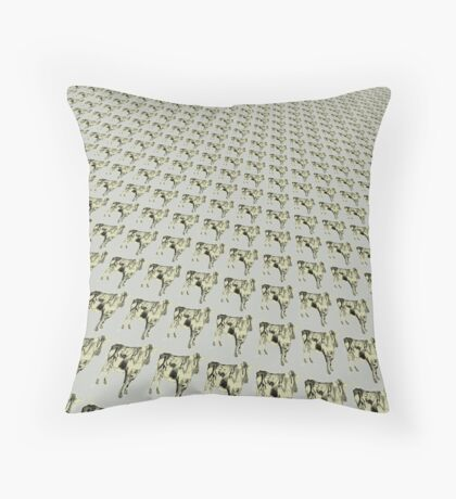 Cow in charcoal Throw Pillow